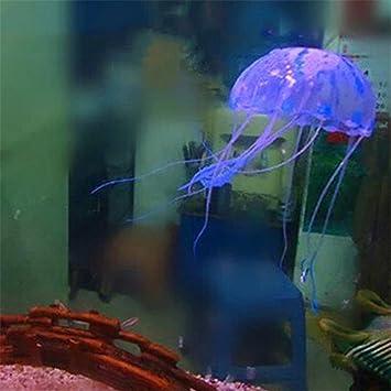 Suave silicona hermosa pecera Trompeta simulación de Medusa adorno brillante morado: Amazon.es: Hogar