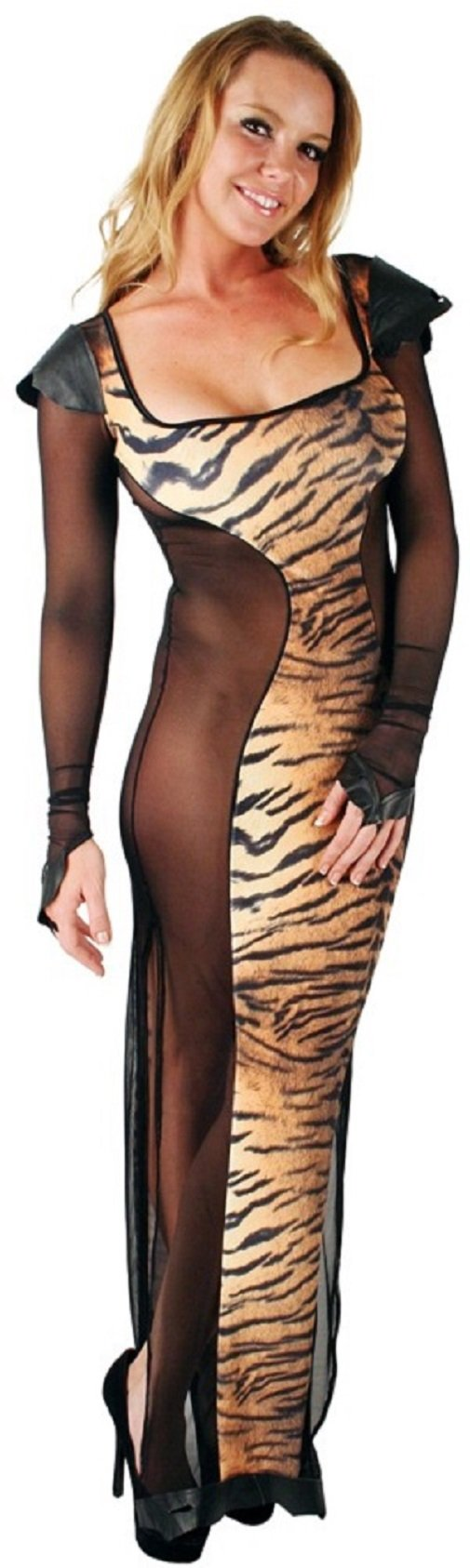 Plus size Velvet hourglass gown long dress, Tiger print, 12x by Delicate Illusions