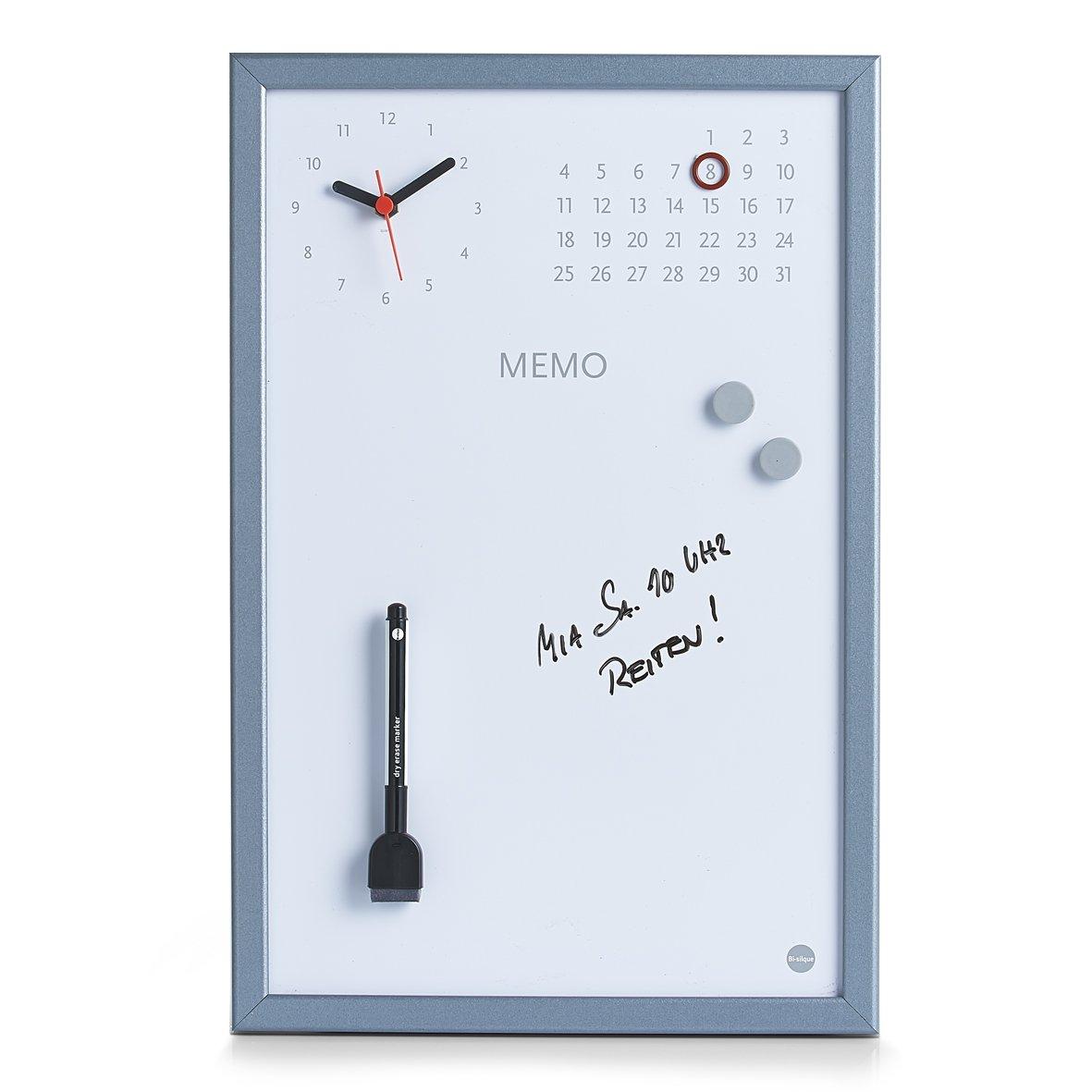 Zeller 11546 Lavagnetta con orologio in alluminio, 30 x 45 cm ...