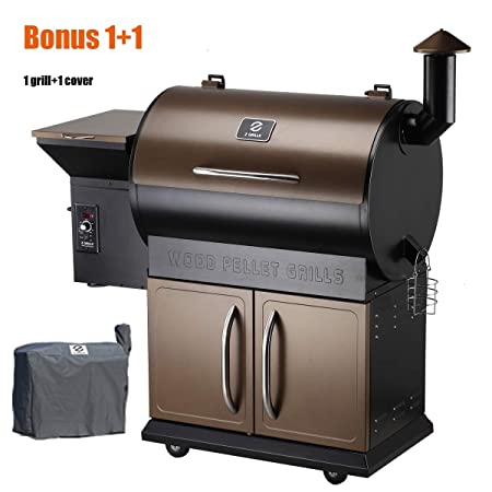 Z Grills Wood Pellet Grill Smoker with Patio Cover,700 Cooking Area 7 in 1- Grill, Smoke, Bake, Roast, Braise and BBQ with Electric Digital Controls for Outdoor Grill Cover included