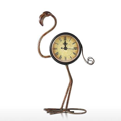Tooarts Reloj de Metal - Forma de Pájaro Flamenco - Reloj de Mesa Regalo para Niños