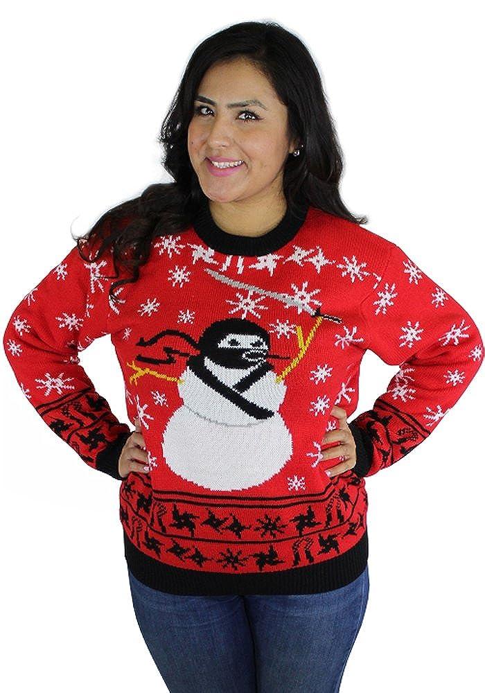 FunQi Ninja Snowman Attack Ugly Christmas Sweater