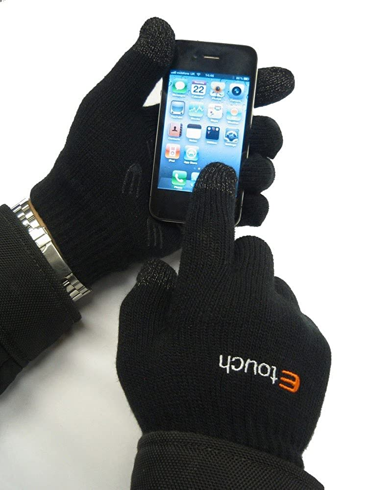 Etouch Touchscreen Gloves, for iPhone, iPad, Blackberry, Samsung, HTC and other smartphones, PDA's & Sat navs, Black PDA's & Sat navs Black (M/L) GLM-88