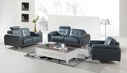 Amazon.com: Divani Casa Markham Modern Grey Bonded Leather ...