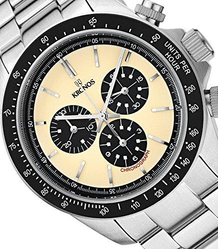 KRONOS - Vintage Sport Chronograph Desert 985.8.35 - Reloj de Caballero de Cuarzo, Brazalete de Acero, Color Esfera: Beige: Amazon.es: Relojes