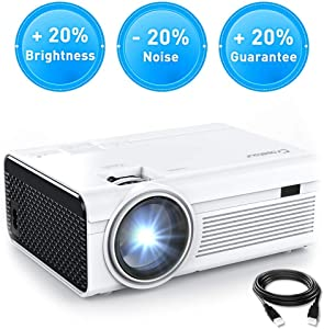 Projector, Crosstour Mini LED Video Projector Home Theater Supporting 1080P 55,000 Hours Lamp Life Compatible with HDMI/USB/SD Card/VGA/AV and Smartphone