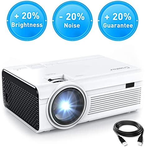 Crosstour Projector, Mini LED Video Projector Home Theater Supporting 1080P 55,000 Hours Lamp Life Compatible with HDMI/USB/SD Card/VGA/AV and ...