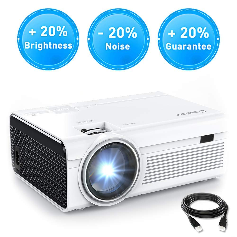 Projector, Crosstour Mini LED Video Projector Home Theater Supporting 1080P 55,000 Hours Lamp Life Compatible with HDMI/USB/SD Card/VGA/AV and Smartphone by Crosstour