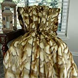 Thomas Collection faux fur bedding, wolf fur throw blanket, Gold Faux Fur Luxury Throw Blanket Bedspread, Light Brown White Gray Faux Fur Throw, Made in America, 16403
