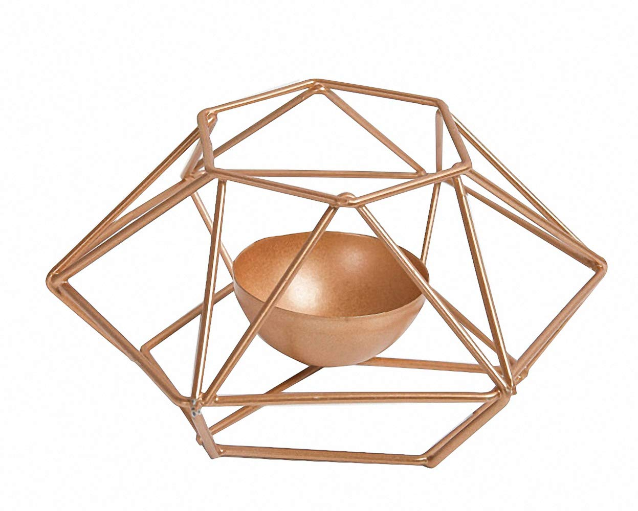 Nordic Gold Modern Design Iron Bowl Candleholers Geometric Candle Lantern Holders Simplified Minimal Design for Modern Wedding Party Coffee Table Decorative Centerpiece House Gifts Home Decoration by Vinee