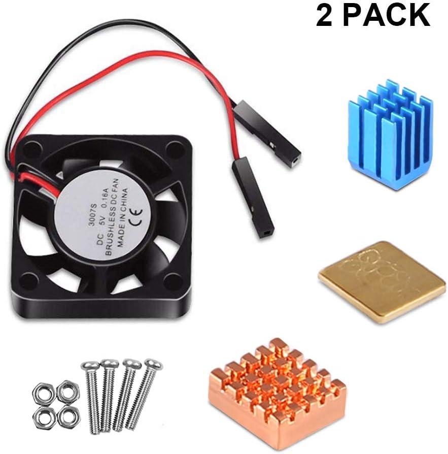Dorhea Raspberry Pi 3 Model B Cooling Fan with Heatsinks Raspberry Pi Cooler Fan 3.3V 5V DC Quiet Fan and Heat Sink for Raspberry Pi 3 B+, Pi 3 B, Pi 2, Pi B+, Pi Zero/Zero W,Robot Project (2Pack)
