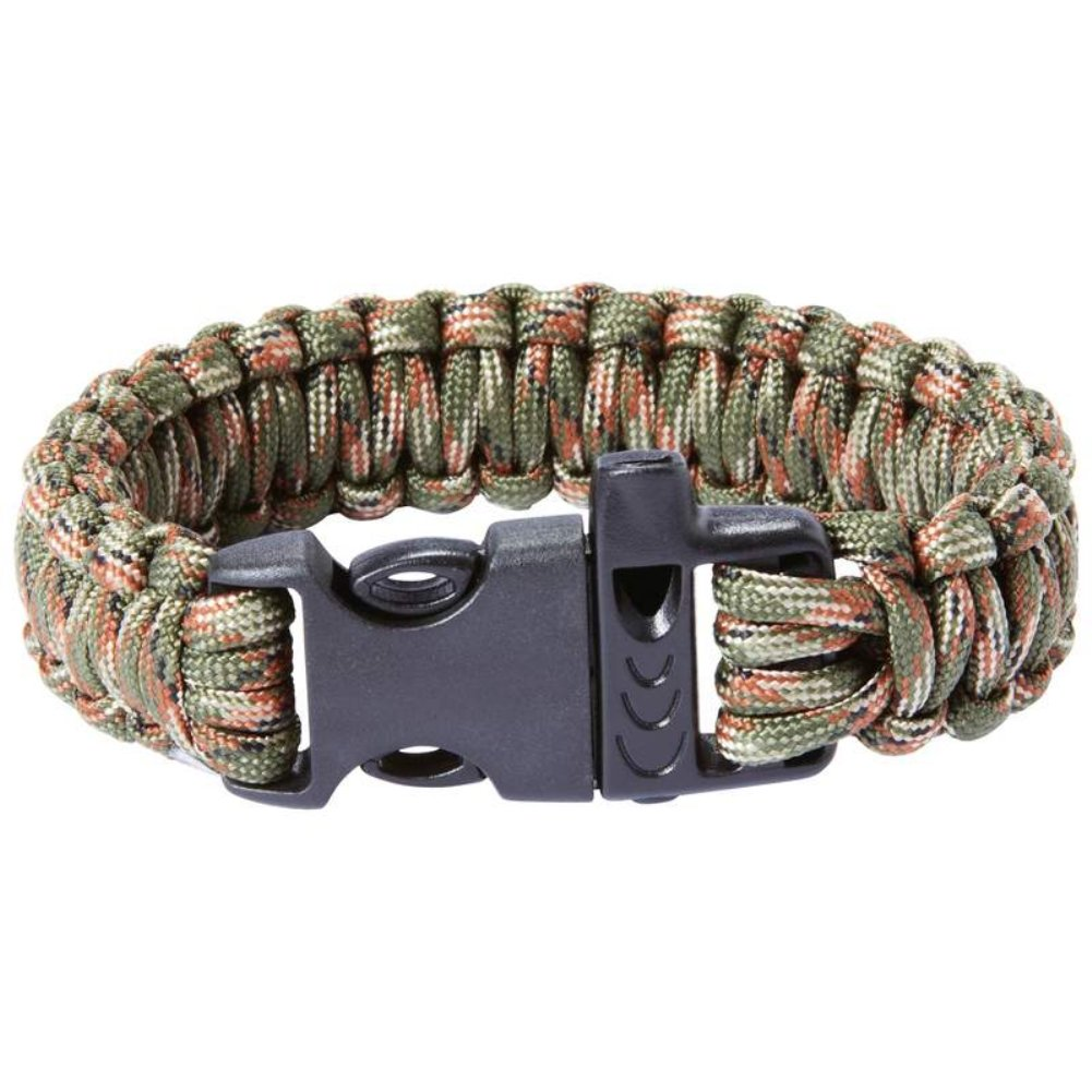 Maxam 9 in. Army Green Camo Paracord Bracelet With Whistle Buckle B009HS9570