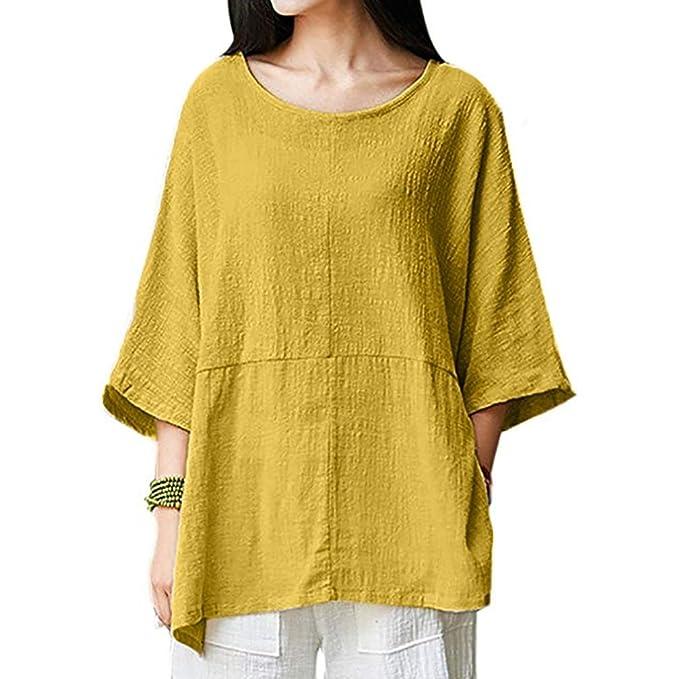 Camisa Casual Mujer Verano 2018, Covermason Blusa Casual de Manga Corta de algodón de Manga Corta con Cuello Redondo: Amazon.es: Ropa y accesorios
