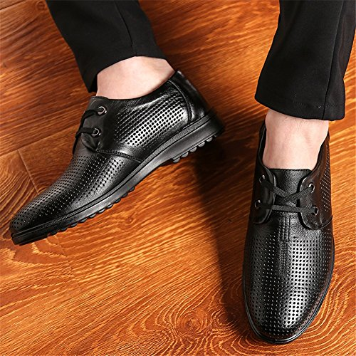 Sandals Work Flat Lace Out Shoes Leather Yellow Breathable Brown Men's Black Hollow Casual Driving Formal Black Loafers Shoes Business up Summer HUAN wvSq4pn6T