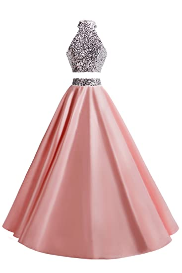 KYD Womens Two Piece Prom Dress Sequined Long Party Gowns Evening Dresses(Blush 6)