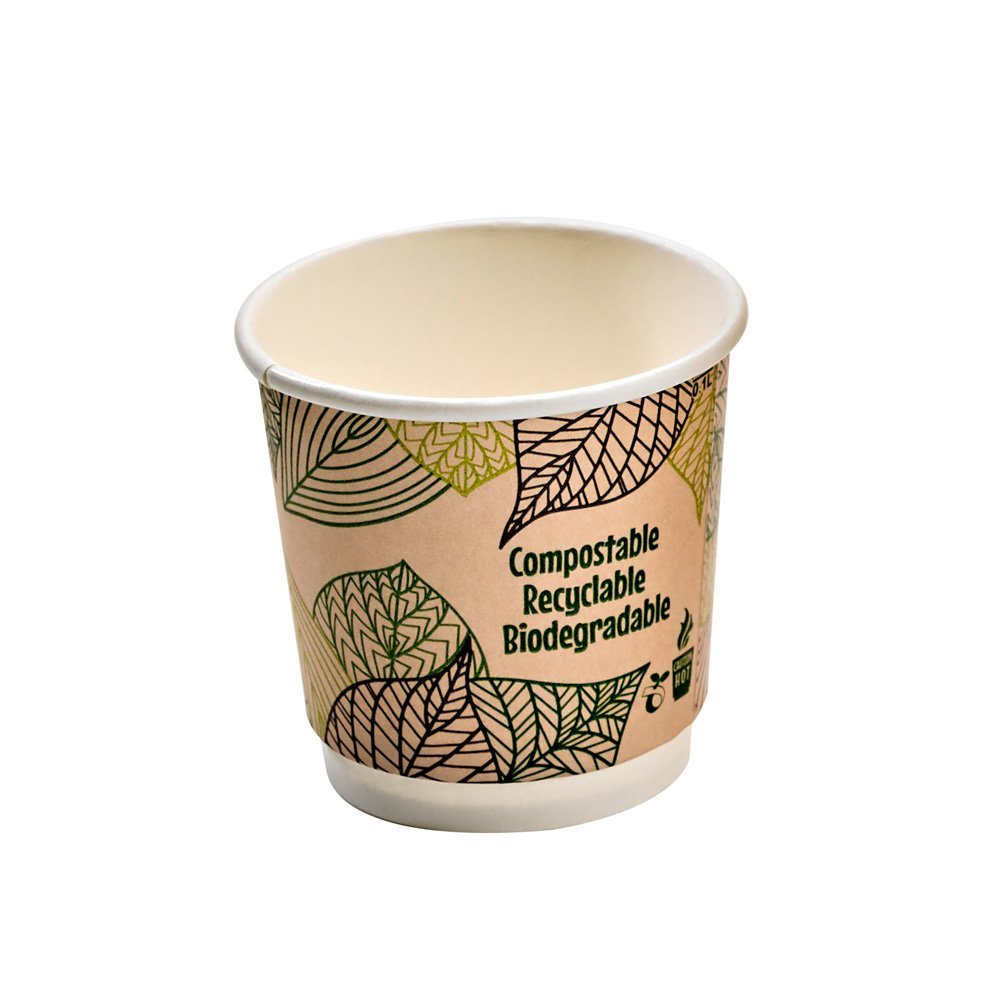 PacknWood Double Wall Compostable Paper Cup with PLA Liner, 4 oz. (Case of 1000)