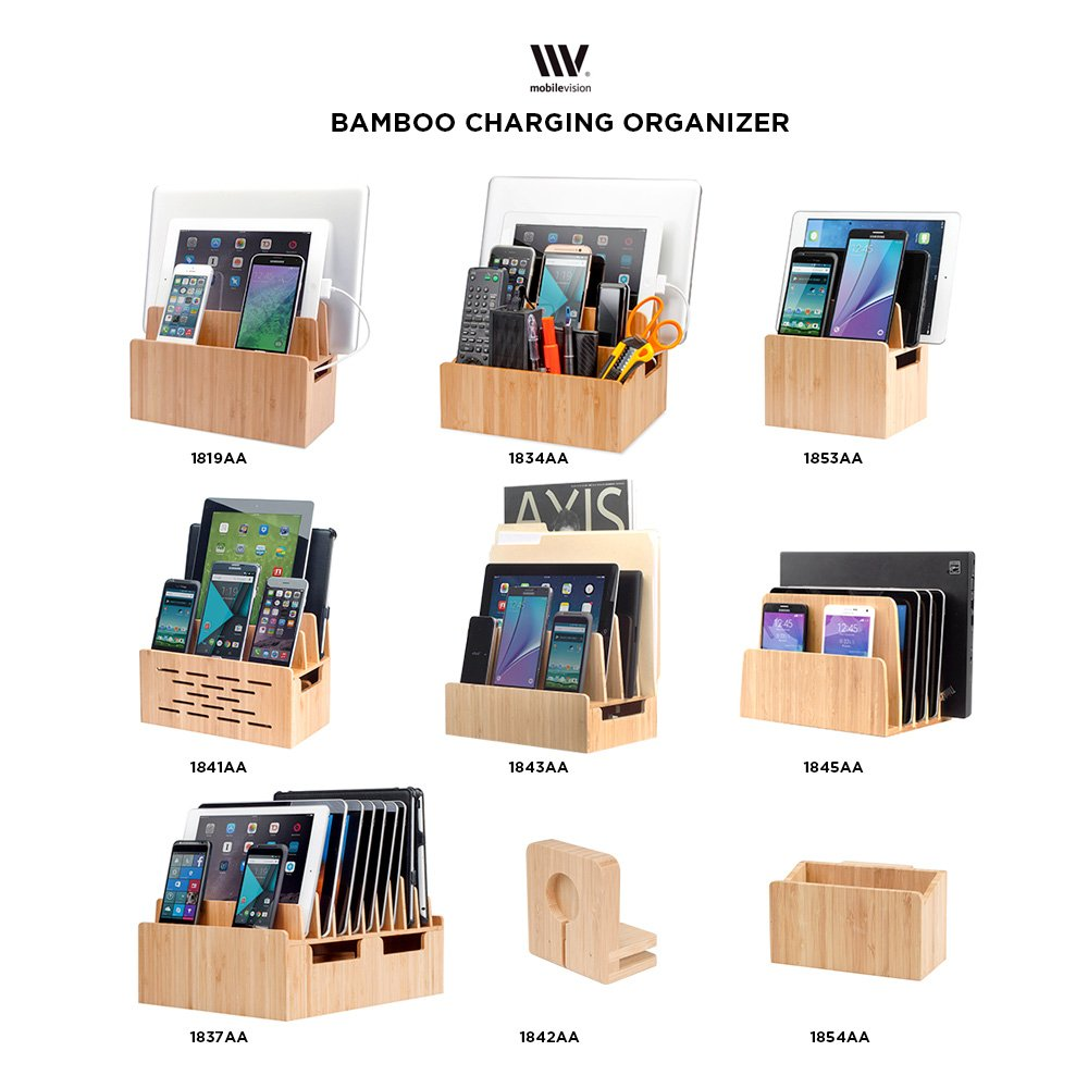 Bamboo Charging Station w/Extension & MobileVision Compatible Stand Adapter for Apple iWatch Combo Organizer for Smartphones, Tablets, and Laptops