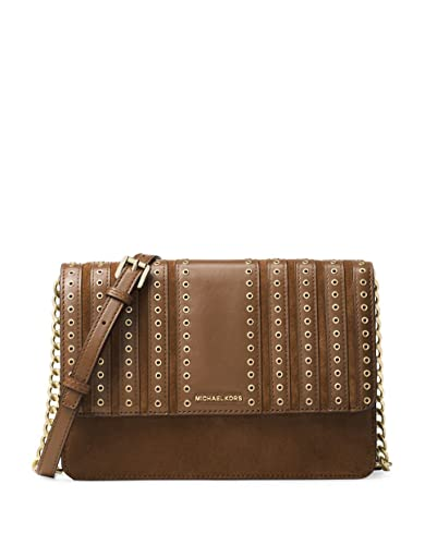0fab5c662cc8 Michael Kors Brooklyn Large Grommet Suede and Leather Crossbody in Caramel:  Handbags: Amazon.com