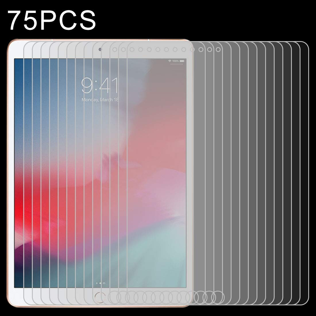 YCDZ STORE Tempered Glass Film 75 PCS 0.4mm 9H Surface Hardness Explosion-Proof Tempered Glass Film for iPad Air 2019
