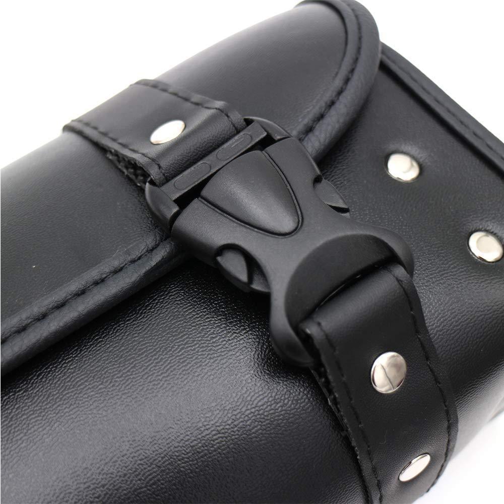 Negro Bolsas de Moto Bolsa de Herramientas de Cuero de PU Alforja