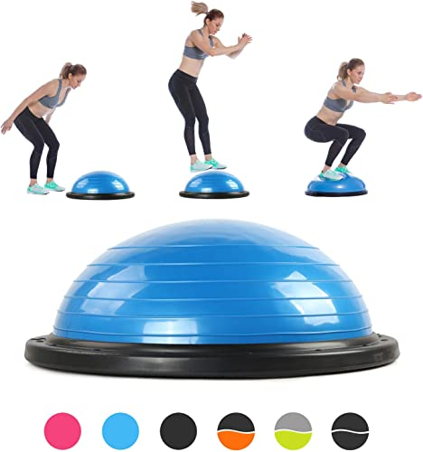 RitFit Balance Ball Trainer, 60 cm, Half Ball for Yoga,Fitness,Strength Exercise with Air Pump, Resistance Bands and Free Digital and Paper Exercise Chart