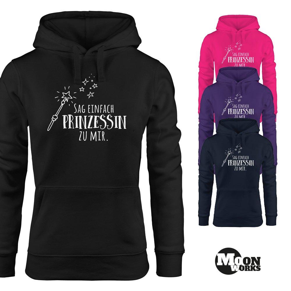 MoonWorks Hoodie für Damen, Sag Einfach Prinzessin zu Mir, Sweatshirt mit Kapuze, Kapuzenpullover mit Spruch