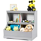 Costzon 4-Cubby Kids Bookcase with Footboard, Multi-Bin Children's Storage Organizer Cabinet Shelf with Thick Wood Board for
