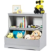 Costzon 4-Cubby Kids Bookcase with Footboard, Multi-Bin Children's Storage Organizer Cabinet Shelf with Thick Wood Board…