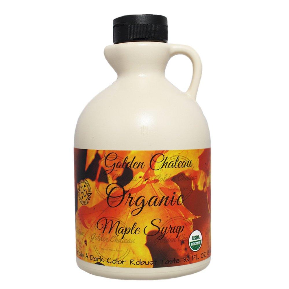 Golden Chateau Organic Maple Syrup Grade A Dark Color Robust Taste/formerly Grade B, 32 Oz