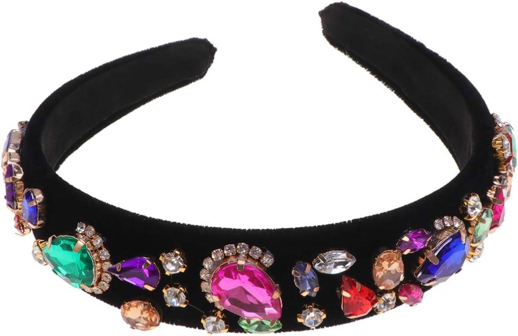 Beaupretty diadema de joyas nupcial tiara aro de pelo vintage exquisita diadema de perlas decorativas tocado de cristal para el banquete de boda