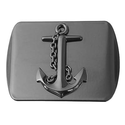 "LFPartS Navy Ship Anchor 3D Black Emblem Metal Trailer Hitch Cover Fits 2"" Receivers (Black Square): Automotive"