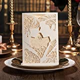 Doris Home Laser Cut White Hollow-out Bride and Groom Engagement Wedding Invitations 100pcs,CW010