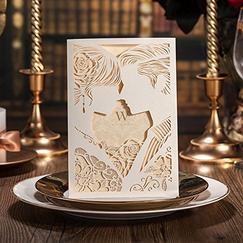 Doris Home Laser Cut White Hollow-out Bride and Groom Engagement Wedding Invitations 100pcs,CW010 by Doris Home