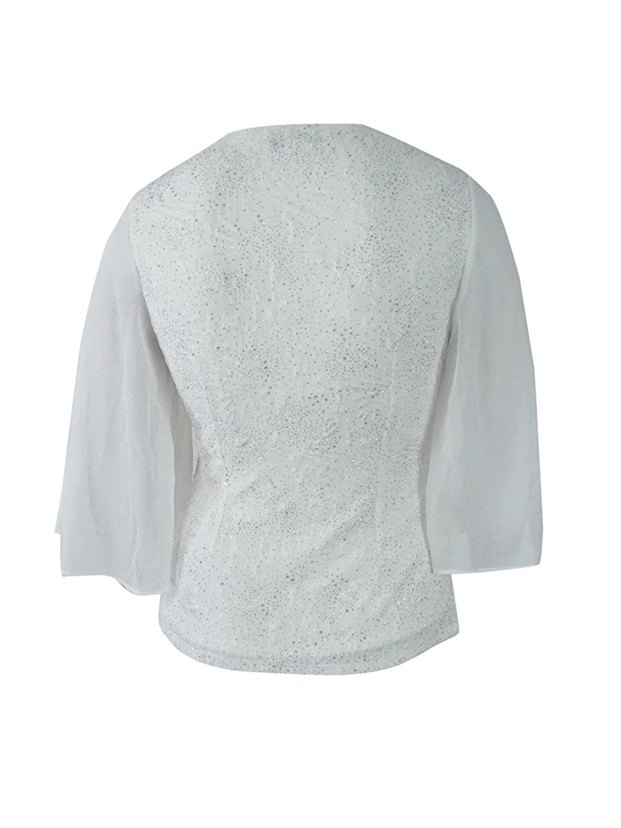 0eb75a86498e Amazon.com: Msk Women's Rhinestone Flutter-Sleeve Metallic Blouse: Clothing