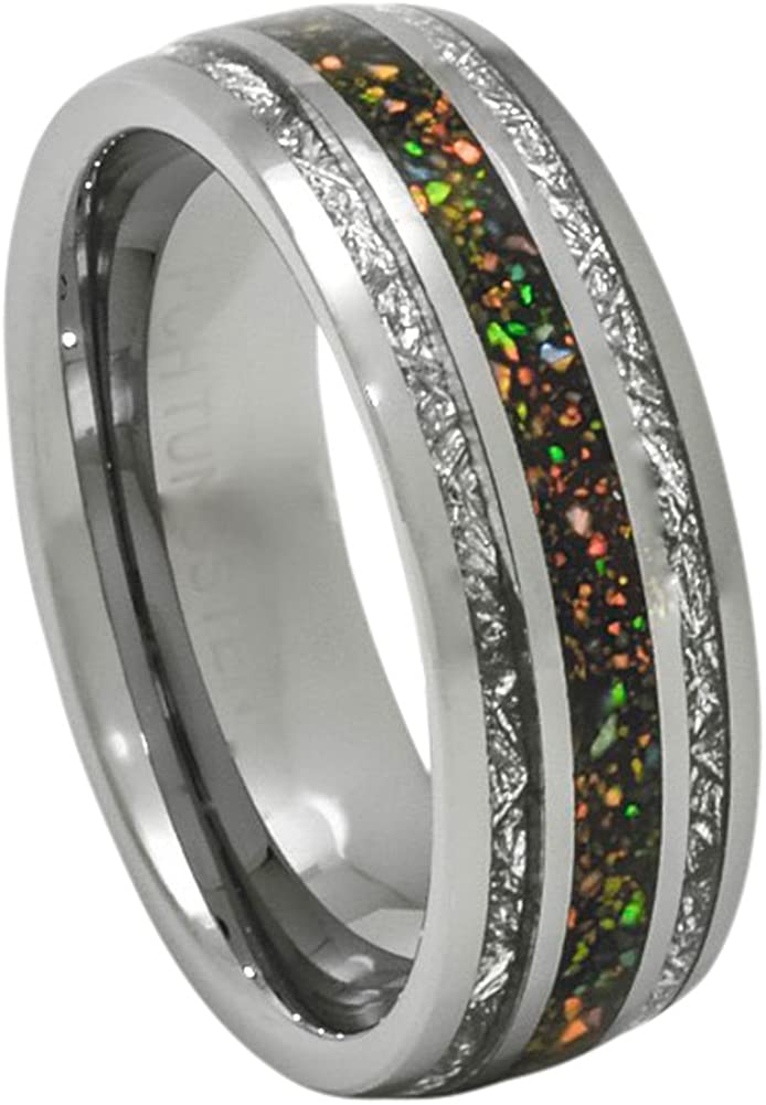 PCH Jewelers Created-Opal Ring with Imitated Meteorite 8mm Tungsten Wedding Band or Gift 7-13