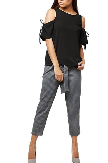 La Mujer Es Elegante Sin Tirantes De Blusa Camisa Manga Corta Top Plus Size Black 3XL