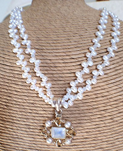 Strand Double Citrine Necklace - Double strand pearl necklace with sterling silver pearl, moonstone and citrine pendant