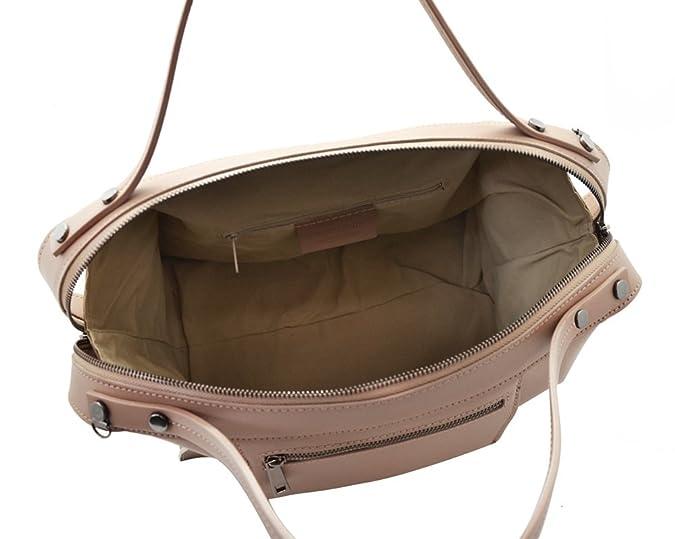 bf4f110b7db AMBER Italian Bowler handbag cross body purse with outer seams smooth stiff  leather Made in Italy  Handbags  Amazon.com