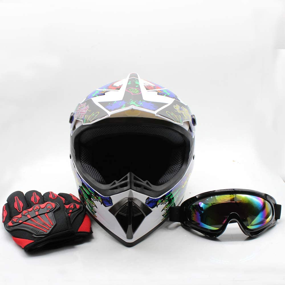 Youth Kids Offroad Gear Combo Helmet Gloves Goggles DOT Motocross Off-Road Racing ATV Dirt Bike Protector #1, L