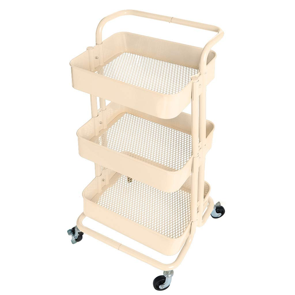 3-Tier Metal Mesh Rolling Storage Cart with Utility Handle Shelves Rolling Cart Storage Rack with Wheels Storage Organizer for Kitchen Bathroom Office (Beige)