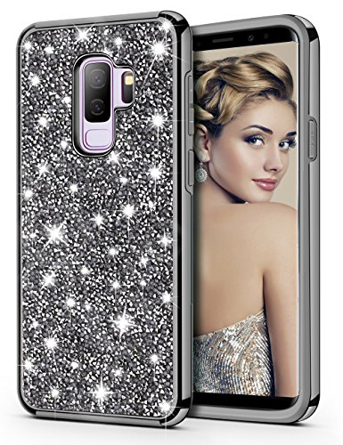 HoneyAKE Galaxy S9 Plus Case Glitter Bling Luxury Sparkly Crystal Rhinestone Diamond Dual Layer Hard PC Back Cover Soft Bumper Shockproof Protective Case for 6.2 Samsung Galaxy S9 Plus(Black)