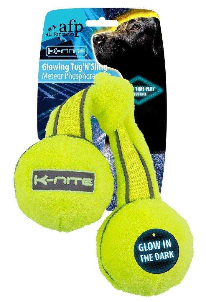 K de Nite Glowing Tug'n ''sling neongelbes Jouet pour chien fluoreszierende Coutures et logo All For Paws VP7330