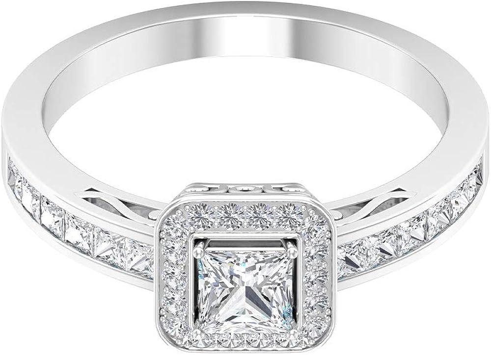 Anillo de oro con halo de diamante certificado SGL de 1,14 quilates, anillo de compromiso de boda solitario, anillo de compromiso de diamantes de corte princesa, anillo de fiesta para mujeres, oro de
