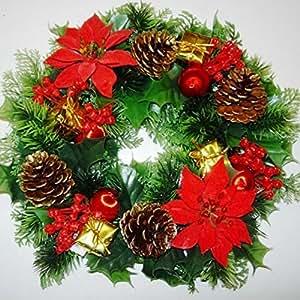 Viveros GARTHWAITE 30,48 cm decoración navideña/puerta ukgd Xmas rojo/Poinsettias/Holly cono