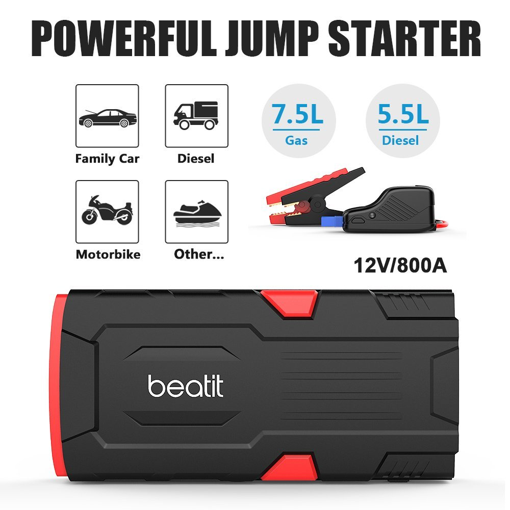 Beatit Bt D11 800a Peak 18000mah 12v Portable Car Jump Lightweight Battery Charger Circuit Diagram With Auto Cut Off Starter Up To 75l Gas Or 55l Diesel Smart Jumper Cables Booster