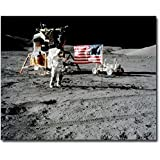 Apollo 17 Astronaut Eugene Cernan & Flag 8x10 Silver Halide Photo Print
