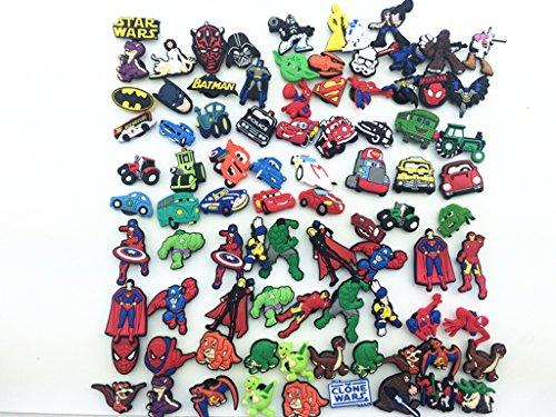 [86 Boys Style Spiderman Batman Cars Shoe Charms for Croc Shoes & Bracelet] (Car Costume Spider)