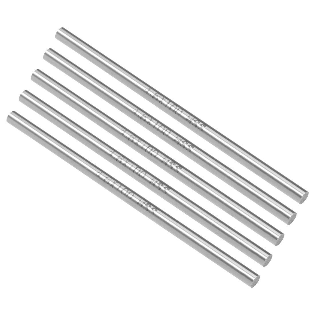 uxcell HSS Lathe Round Rod Solid Shaft Bar 3.9mm Dia 100mm Length 10Pcs