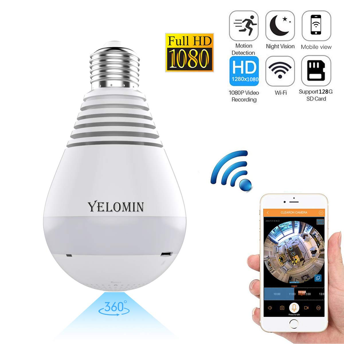 1080P WiFi Secuity Bulb Camera,HD Wireless IP Camera Night Vision VR Panoramic with Motion Detection for Android iOS APP 360 Degree Fisheye Home Surveillance System Remote View White