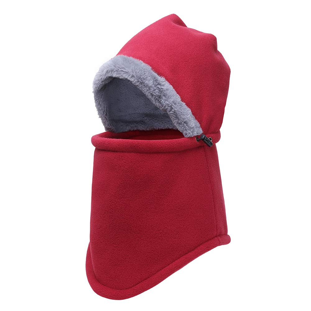 Opromo Fleece Balaclava Hood Ski Face Mask Winter Neck Warmer Windproof Cap-Maroon-24PCS